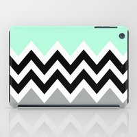 DOUBLE COLORBLOCK CHEVRON {MINT/BLACK/GRAY} iPad Case