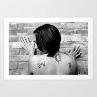 Tattooed girl against brick wall Art Print