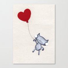Zombie Kitty Flies Away On Valentines Day Canvas Print
