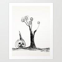The Pumpkin & The Tree Art Print