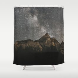 Shower Curtain - Milky Way Over Mountains - Landscape Photography - regnumsaturni