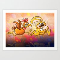 Easter Bunny Stealing An… Art Print