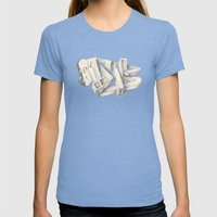 DUBSKETCH Womens Fitted Tee Tri-Blue SMALL