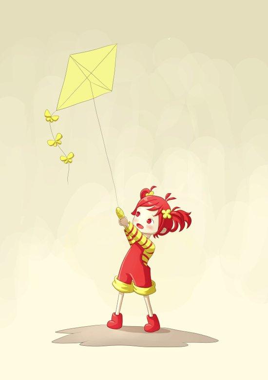 Girl with Kite Art Print