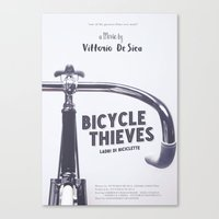 Bicycle Thieves - Movie Poster for De Sica's masterpiece. Neorealism film, fine art print. Canvas Print
