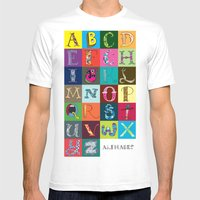 Hand Drawn Alphabet Mens Fitted Tee White SMALL