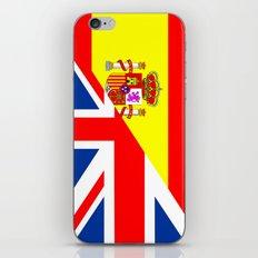 half united kingdom great britain half spain flag british spanish language dictionary  iPhone & iPod Skin