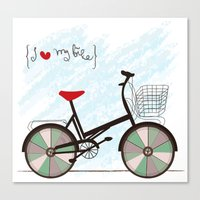 I {❤} My Bike Canvas Print