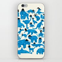 Blue Animals Black Hats iPhone & iPod Skin