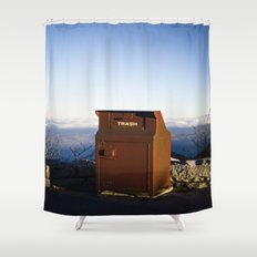 Miles high trash can Shower Curtain