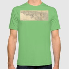 Vintage 1915 Los Angeles Area Map Mens Fitted Tee Grass SMALL