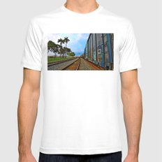 Planes, Trains, but no Automoblies Mens Fitted Tee White SMALL