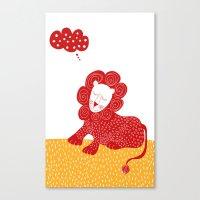 Sleeping red lion Canvas Print
