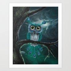 Peacock Owl Art Print