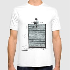 LITTLE DREAMS, BIG BOOKCASE Mens Fitted Tee SMALL White
