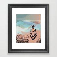 Woman on Beach #7 Framed Art Print