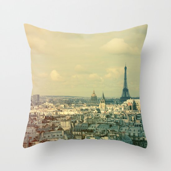 Pale Paris Throw Pillow