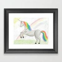 Rainbow Unicorn Framed Art Print