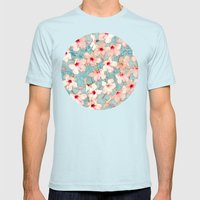 Shabby Chic Hibiscus Pat… Mens Fitted Tee Light Blue SMALL