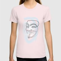 One Line Mask: V Womens Fitted Tee Light Pink SMALL