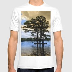 Cypress Trees White Mens Fitted Tee SMALL