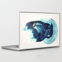 owls Laptop & iPad Skins featuring Midnight Owl by Robert Farkas