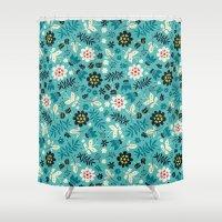Fresh Blossoms (Greens) Shower Curtain
