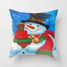 Snowman with Gifts Throw Pillow