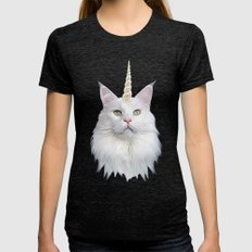 Unicorn Cat Womens Fitted Tee Tri-Black SMALL