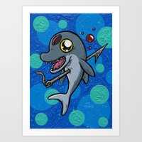 Poony the Harpooned Dolphin Art Print