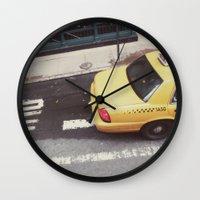 one way taxi:: nyc Wall Clock