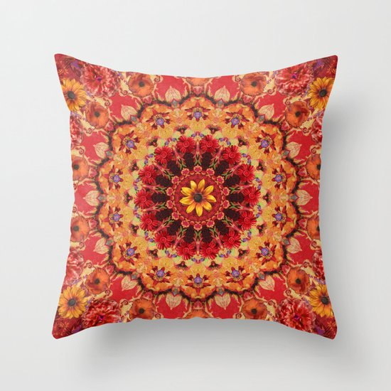 Red Kaleidoscope with Flowers Throw Pillow