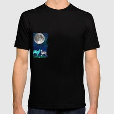 MOON CATS Mens Fitted Tee Black SMALL