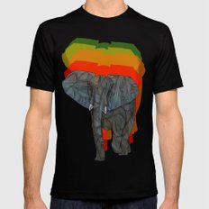 African Elephant SMALL Black Mens Fitted Tee