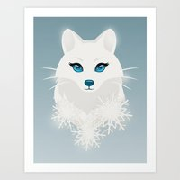 Arctic Fox Princess Art Print