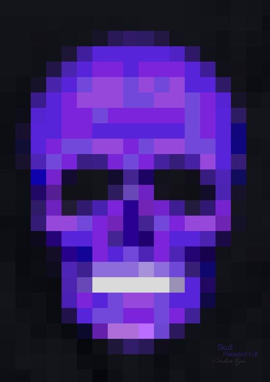Skull Pixelated Full Art Print