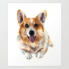 Corgi painting, watercolor Corgi, dog paintings, dog breed mugs, dog breed pillows Art Print