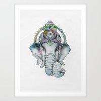 Ganesha Watercolor Art Print