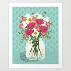 Vase of Daisies floral flowers spring summer mother's day illustration Andrea Lauren  Art Print