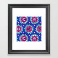 Violet Blue Flower Motif Framed Art Print