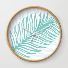 Palm Leaf in Blue and Green Wall Clock