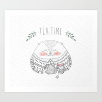 tea time cat Art Print