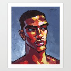 Male Portrait - Loves Football Art Print