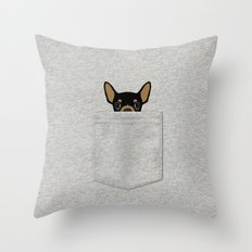 Pocket Chihuahua - Black Throw Pillow