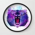 Lilac Geometric Bear  Wall Clock