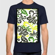Green & Yellow Japanese … Mens Fitted Tee Navy SMALL