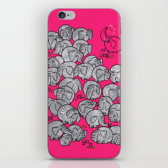 Elephants Never Forget to Party - PINK iPhone & iPod Skin