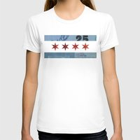 Ephemeral Chicago Flag Womens Fitted Tee White SMALL