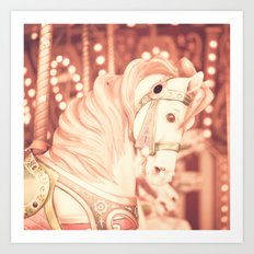 Pink carousel horse Art Print