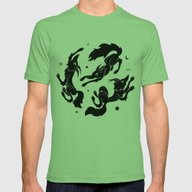 Dancing Wolves Mens Fitted Tee Grass SMALL